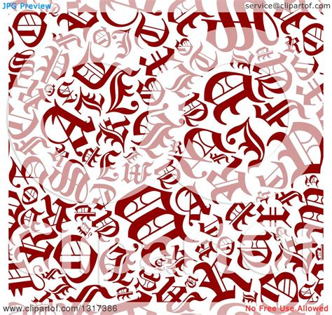 letter pattern in english clipart of a seamless background pattern of red old