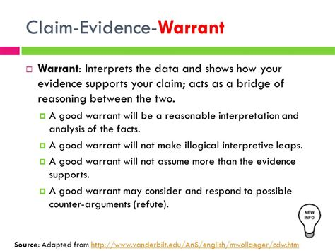Types Of Search Warrants Lesson 9 10 Claim Evidence Warrant Ppt