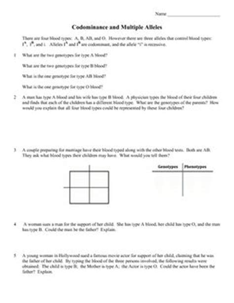 Genetics Practice Problems 3 Monohybrid Problems Worksheet 1 Answers by Blood Types Genetics And Worksheets On