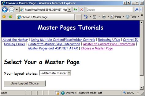 tutorial asp net master page specifying the master page programmatically c the asp