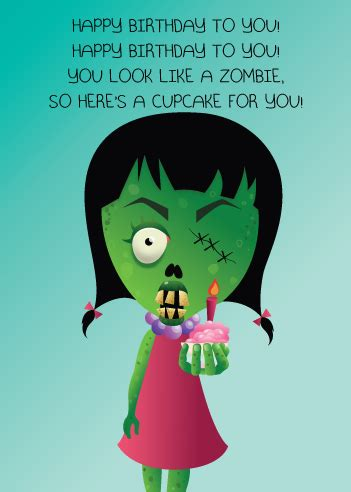 Zombie Birthday Meme - flufflepot quot zombie cupcake quot greeting card