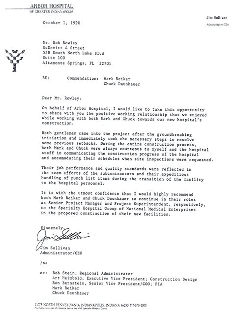 Letter For Hospital rieker duley construction company
