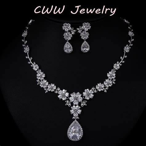 2015 new fashion aaa cz bridal flower necklace
