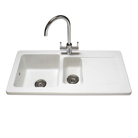 modern kitchen sinks uk reginox contemporary white ceramic 1 5 bowl kitchen sink