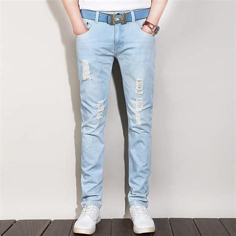 light denim jeans mens light blue ripped jeans for men ye jean
