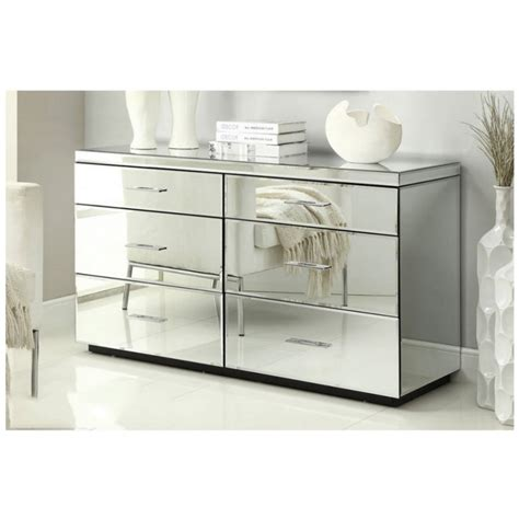 mirrored dressing table 6 drawer dresser chest - Mirrored Dresser