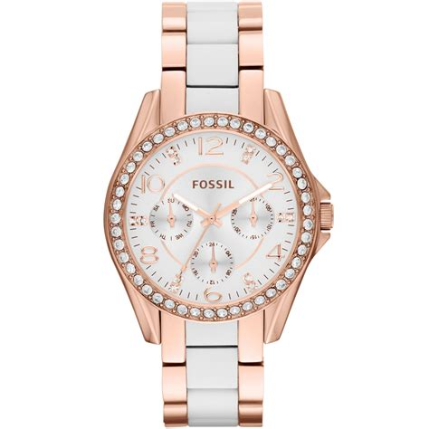 Fossil Rectangle Rosegoldwhite fossil womens white and goldtone stainless steel bracelet 38mm in pink white