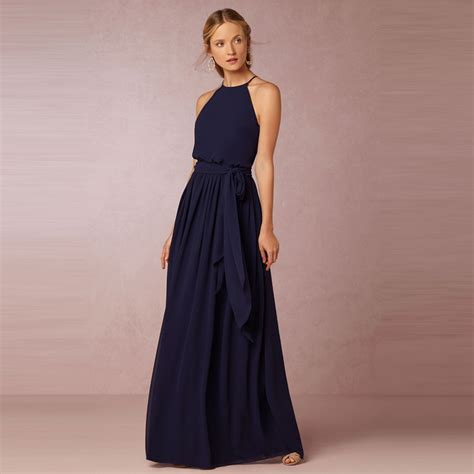 Navy Bridesmaid Dress by Halter Chiffon Navy Blue Bridesmaid Dress Floor Length