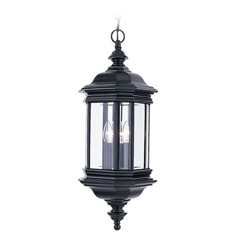 Hanging Outdoor Lighting Fixtures Sea Gull Lighting Hill Gate 3 Light Outdoor Black Hanging Pendant Fixture 6637 12 The Home Depot