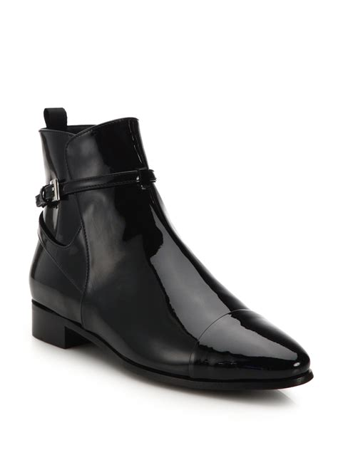 Patent Leather by Lyst Prada Patent Leather Point Toe Ankle Boots In Black