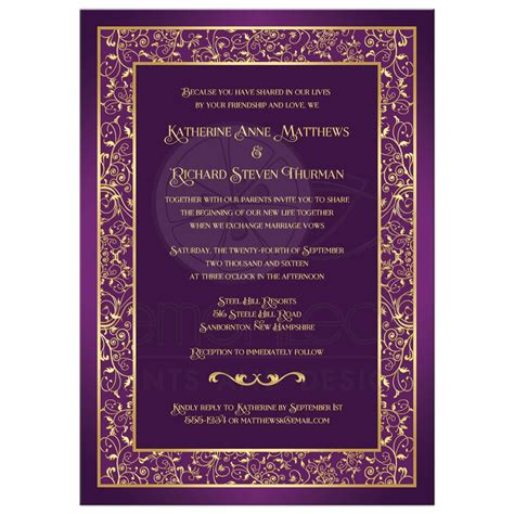purple and gold wedding invitations wedding invitation purple gold ornate scrolls vines