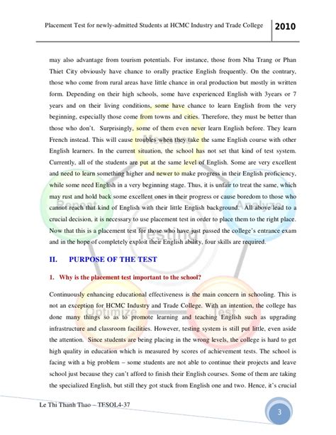 College Placement Test Essay by College Placement Test Essay