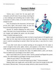 third grade reading comprehension worksheet tommy s