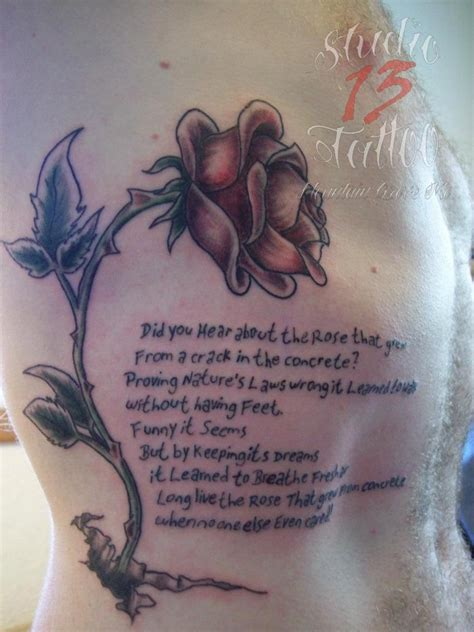 rose from concrete tattoo lettering quote poem concrete wilted