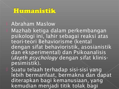 Mazhab Ketiga Psikologi Humanistik teori belajar humanistik