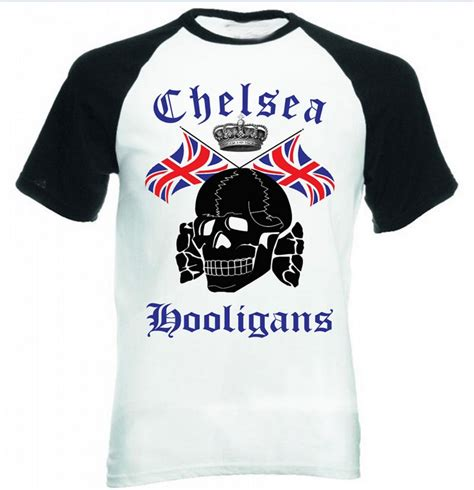 Holligan Shirt chelsea hooligans cool skulls flag black sleeved