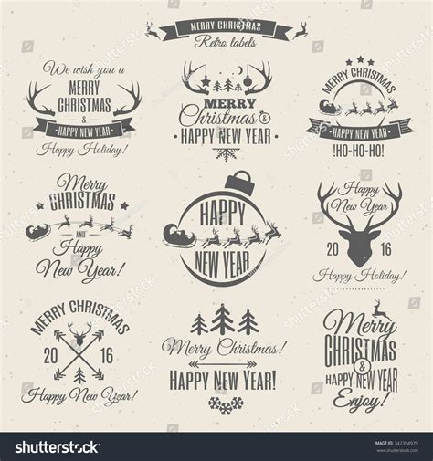 gift vector label elements webbyarts labels elements vector set with santa and deer