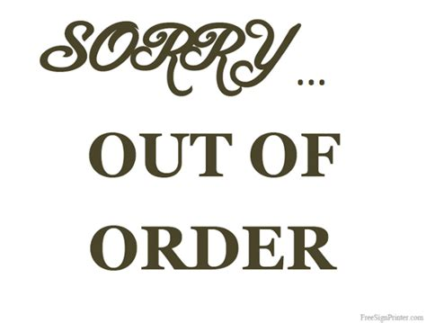 Out Of Order Bathroom Sign by Printable Out Of Order Sign