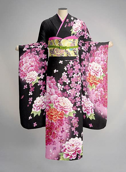 kimono pattern layout pink furisode tumblr