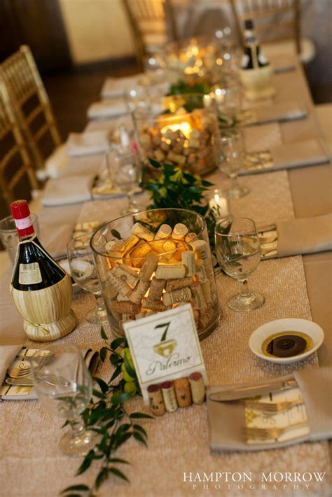 wine themed centerpieces 37 ivory green taupe wedding italian themed wedding
