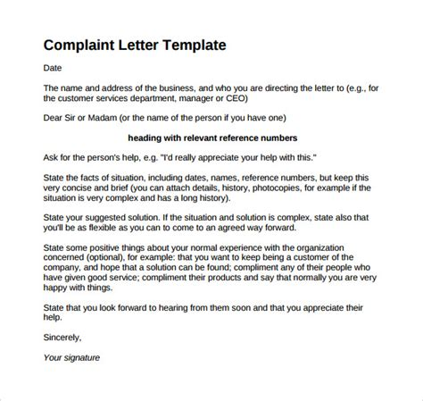 template for letter of complaint 17 sle complaint letters to sle templates