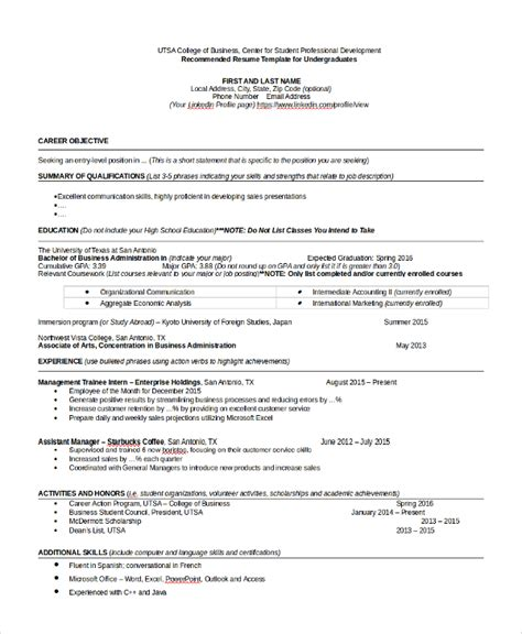resume format for college graduate sle college graduate resume 8 free documents