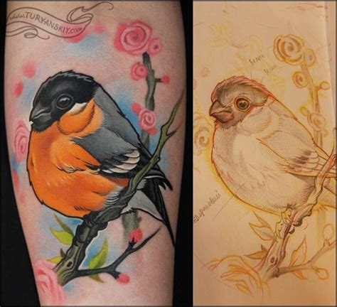 new school realism tattoo arm realistic bird tattoo by oleg turyanskiy
