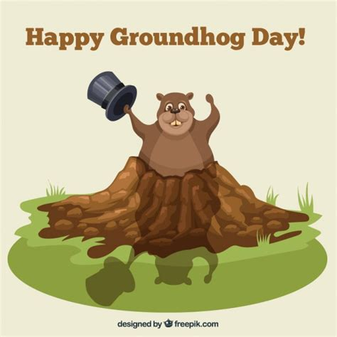 groundhog day and happy day happy groundhog day illustration vector premium