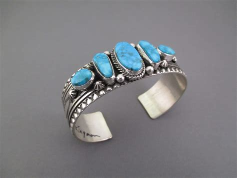 kingman turquoise sterling silver cuff bracelet by happy