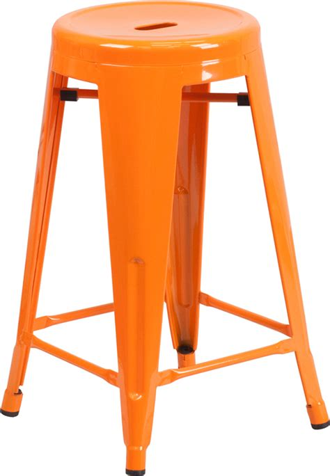 unique bar stool with ivy cap seating picciotto bar 24 high backless orange metal indoor outdoor counter