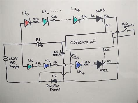 led string circuit diagram using pcr 406 circuit