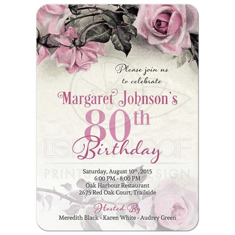80th Birthday Invitation   Vintage Pink Grey Rose