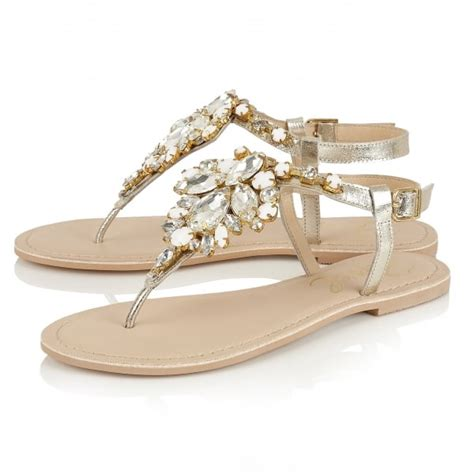 gold flat shoes uk buy ravel redvale jewelled flat sandals in