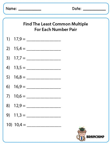 least common worksheets 6th grade worksheets for