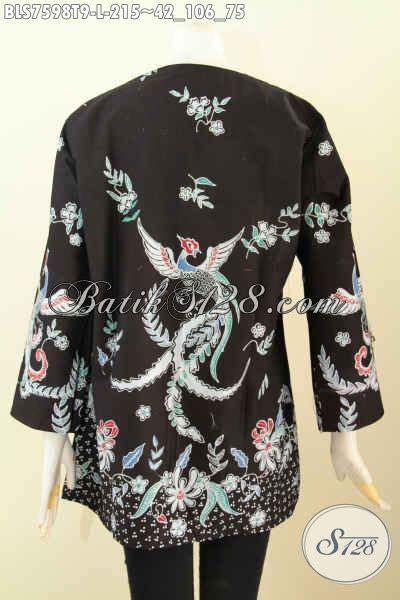 desain baju batik unik sedia blus kerja modis desain tanpa krah baju batik