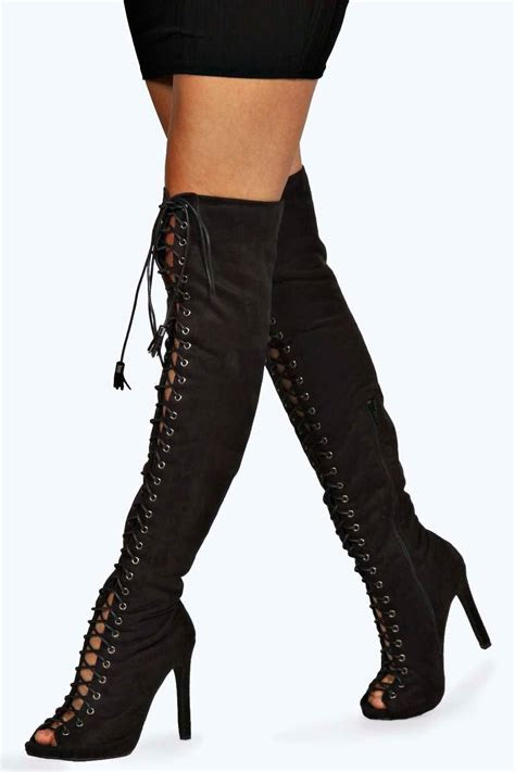 erin lace up knee high peep toe boots at boohoo