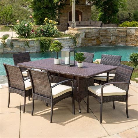 Patio Furniture Dining 7 Outdoor Patio Furniture Multibrown Wicker Dining Set W Cushions Ebay