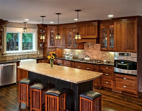 mission style kitchen lighting craftsman kitchen design what is typical for the