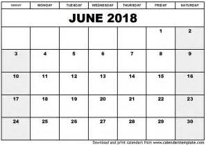 2018 Calendar For June June 2018 Calendar Template