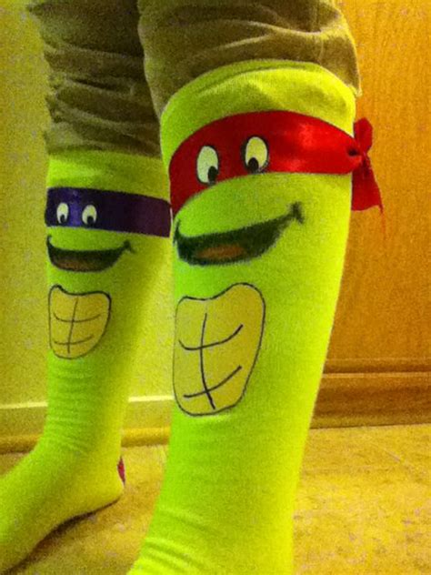 made these cool turtle socks for sock day so