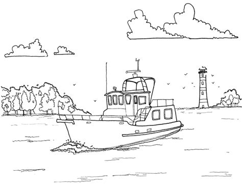 fishing boat free colouring pages