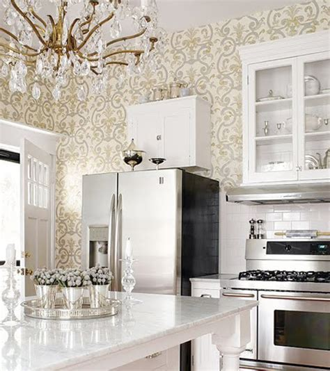 wallpaper design for kitchen all white traditional kitchens interiors b a s blog