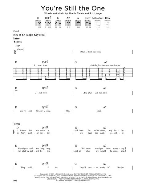 theme song you re still the one you re still the one sheet music by shania twain guitar