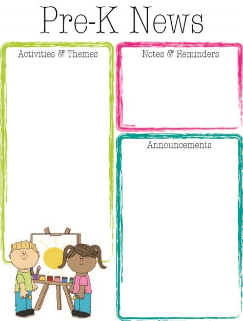 free pre k newsletter templates the crafty prek bright colors newsletter