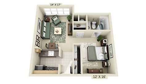 studio apartment 3d floor plans 50 studio type single room house lay out and interior design