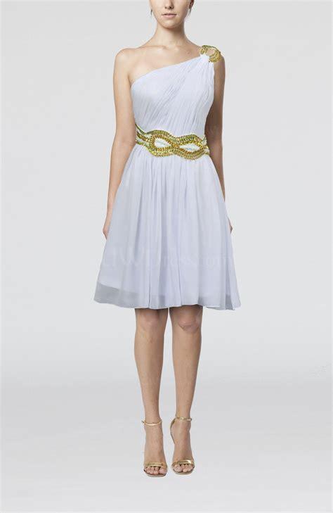 White Elegan white sleeveless zip up chiffon knee length sequin wedding guest dresses uwdress