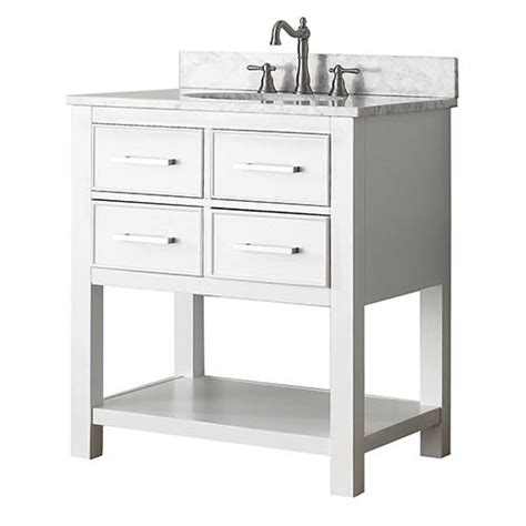 bathroom vanities with tops combos brooks white 30 inch vanity combo with carrera white