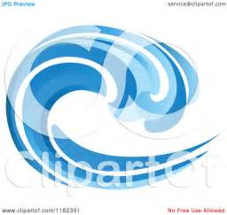 Clipart of a blue surf ocean wave 6 royalty free vector illustration