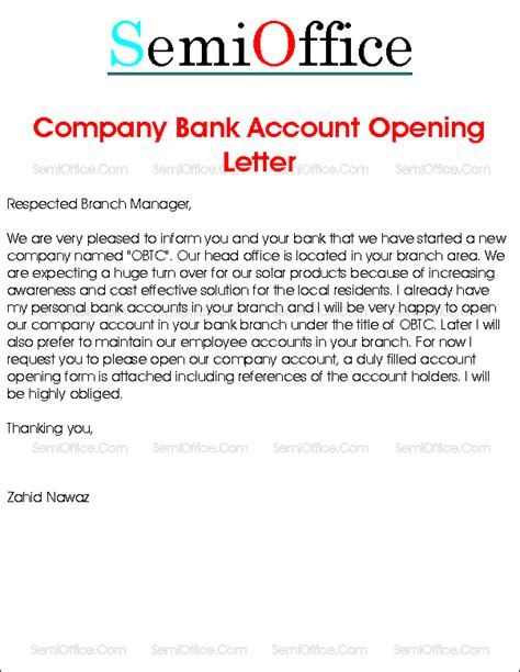 Business Introduction Letter To Bank company bank account opening request letter