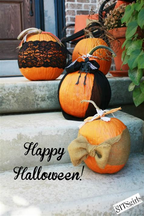 halloween pumpkin ideas fabric lace  ribbon